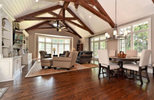 Highlighted by a white ceiling, rustic wooden beams are on trend and mix well with many styles of furnishings.