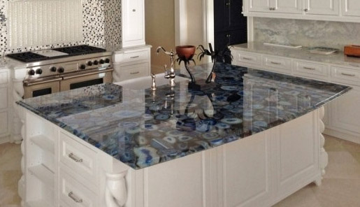 Blue Agate Stones Create A Statement Piece In This Kitchen.