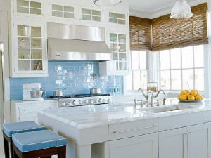 Blue accentuates the fresh, clean appeal