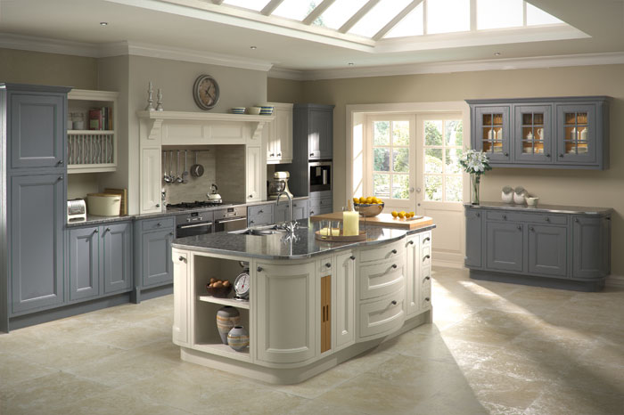 • Sophisticated neutrals are popular choices for kitchen cabinetry.