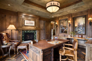 Create your favorite atmosphere! This craftsman style office gives the client a feeling of working at his lodge in the north.