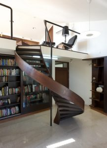 spiral staircase uses less floor space