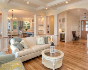 Hardwood floors throughout all areas create a unified space.